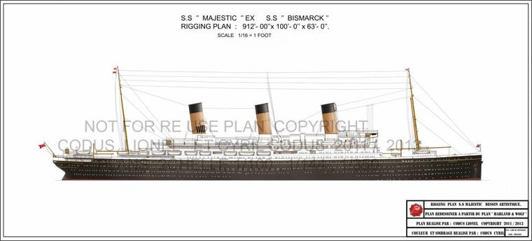 "Dessiné à partir des plans de chantier "" Warland & Wolff "" Le SS Majestic Rigging plan Ex SS Bismarck. /  Drawn from the construction plans ""Warland & Wolff"" The SS Majestic Rigging plan Ex SS Bismarck."