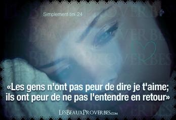 """""""Les gens n'ont pas peur de dire je t'aime;ils ont peur de ne pas l'entendre en retour""""  ~~LesBeauxProverbes.com~~"""