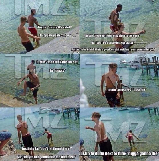 Justin Bieber et ses amis au Staniel Cay Yacht Club.-Twitter