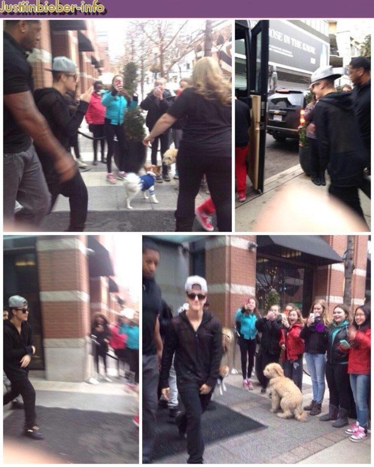 Justin sortant de son hôtel au Canada.
