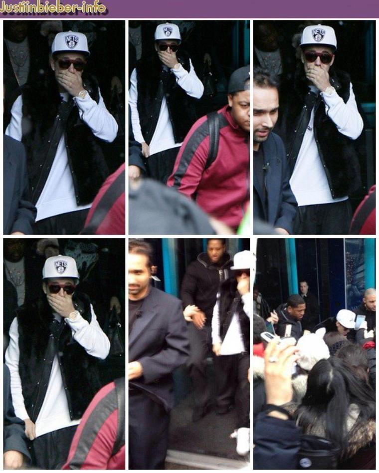 Justin quittant son hôtel à Montreal, Canada.