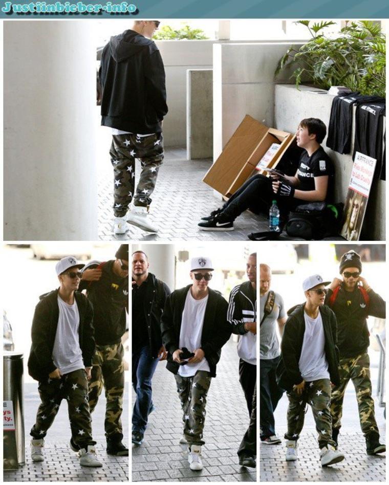 Justin à l'aéroport de Tokyo.