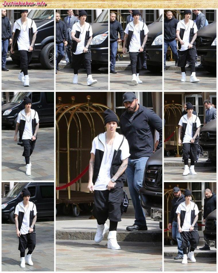 Justin sortant de son hôtel à Los Angeles.