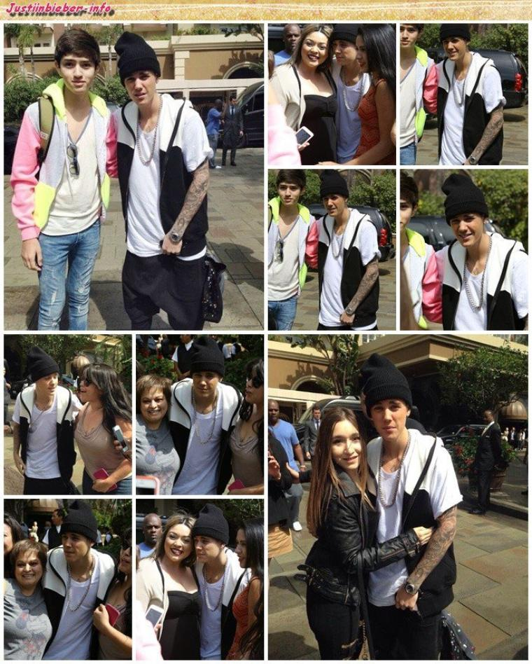 Justin sortant de son hôtel à Los Angeles.