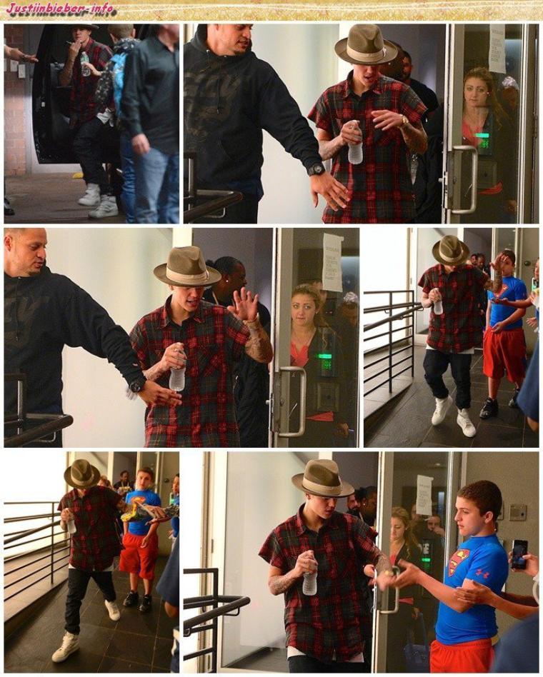 Justin et des fans à New York.