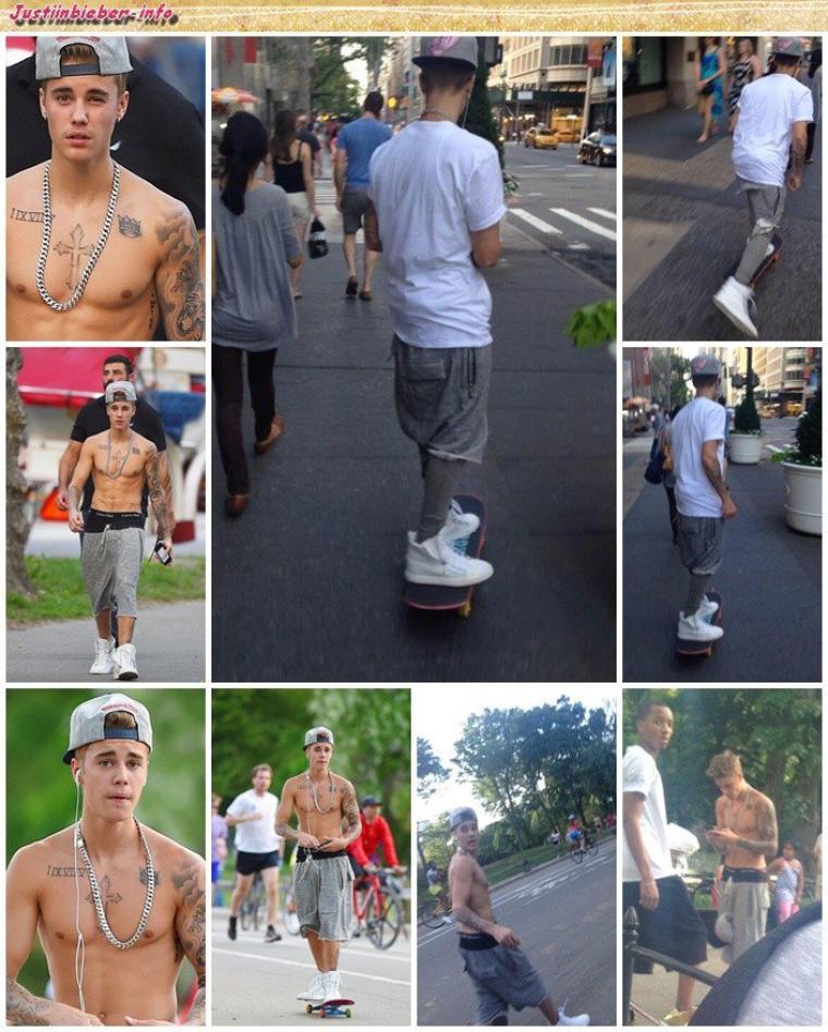 Justin faisant du skate à New York.