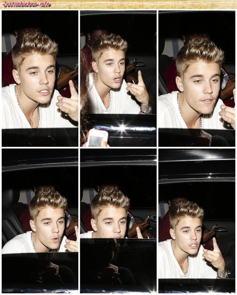Justin quittant un restaurant  à Los Angeles.