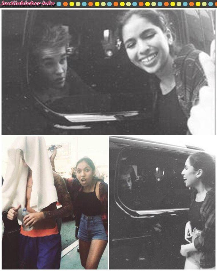 Justin et des fans à Los Angeles