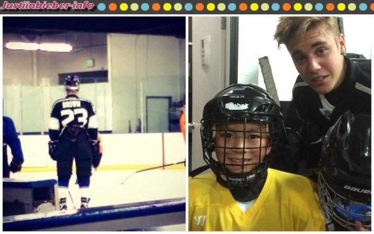 Justin fait du hockey - Rencontre avec les fans.