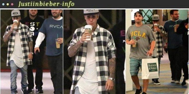 Justin faisant du shopping à Los Angeles.