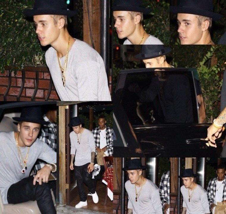 Justin quittant le restaurant Flavor Of India à Los Angeles.
