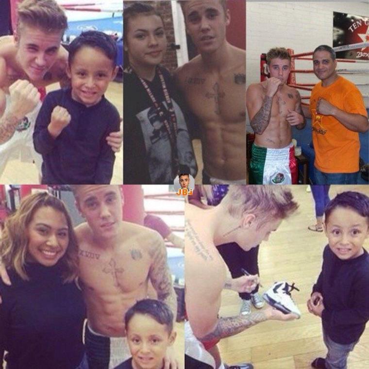 Justin faisant de la boxe à Los Angeles.