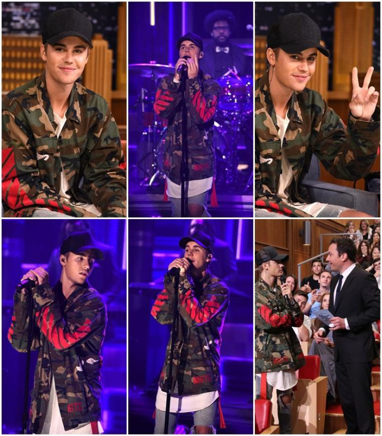 "Justin Bieber dans l'émission "" The Tonight Show"" de Jimmy Fallon."