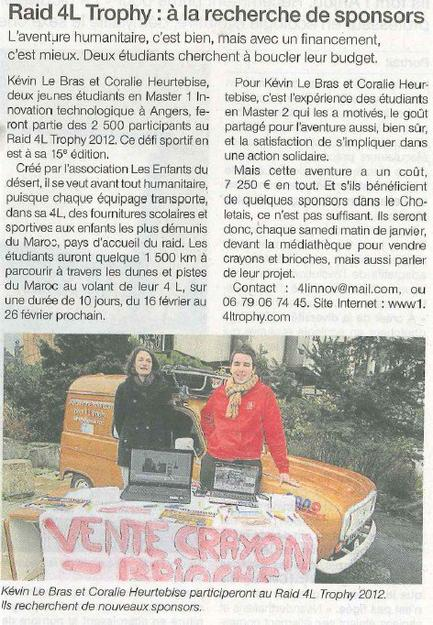 Article OUEST FRANCE CHOLET