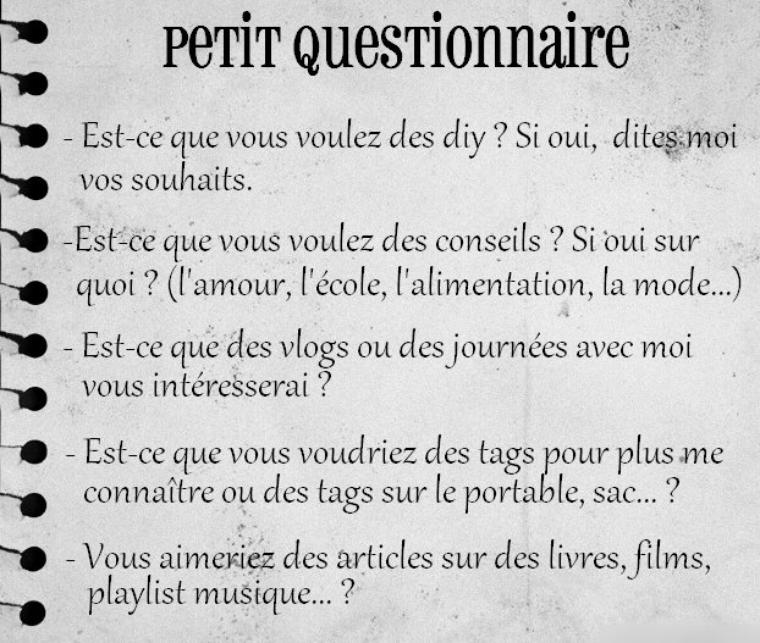 Petit questionnaire pour vous :)