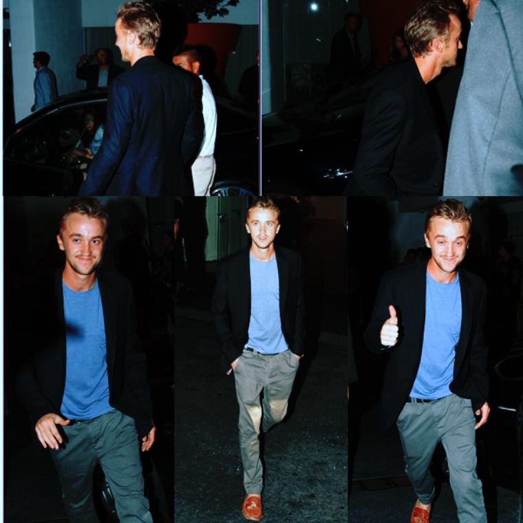 Tom Felton quittant l'hôtel Mondrian de Los Angeles