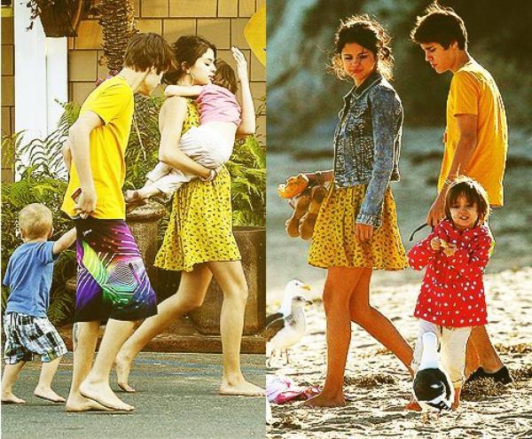 Justin et Selena + Jelena à la plage avec Jaxon & Jazmyn + Live My Life
