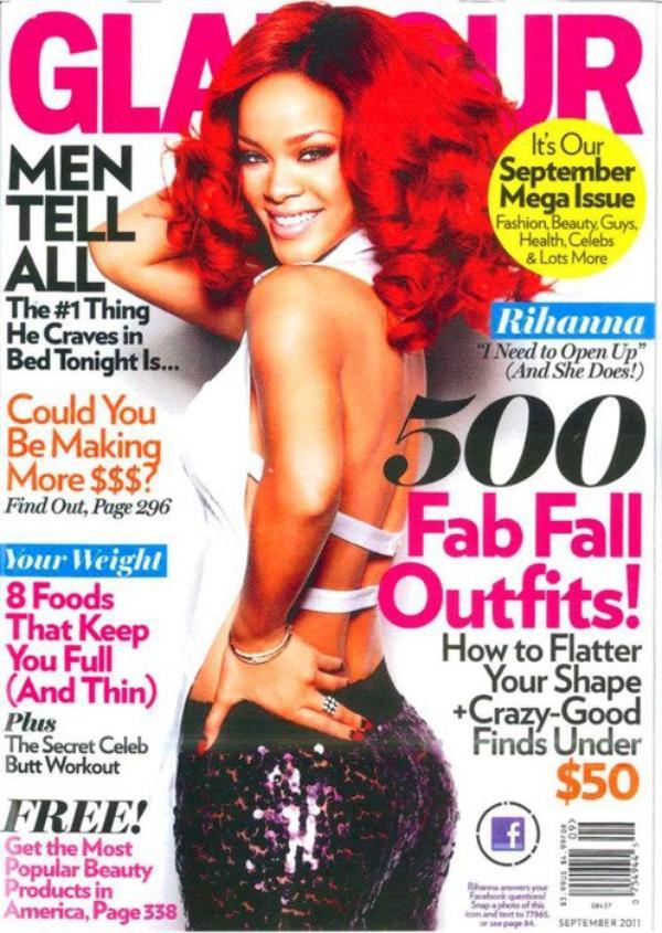 Rihanna. en  couverture du magazine Glamour US