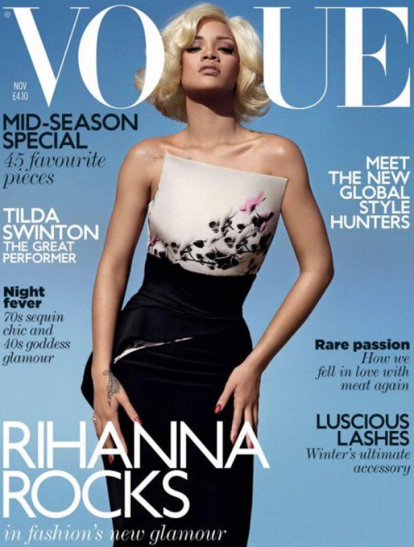 Rihanna dans  Vogue UK du mois de NOVEMBRE