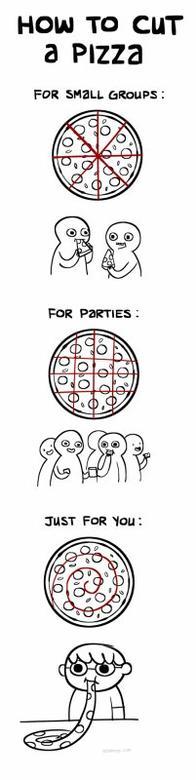 Une pizza ronde, qu'on met dans une boite carrée, pour la manger en triangle...