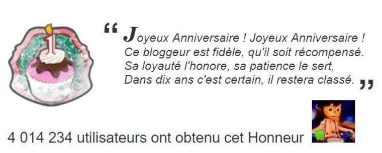 Honneur Anniv'  1 An