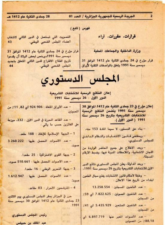 نسخة من الجريدة الرسمية بعد فوز الجبهة الإسلامية للإنقاذ في تشريعيات 26 ديسمبر 1991