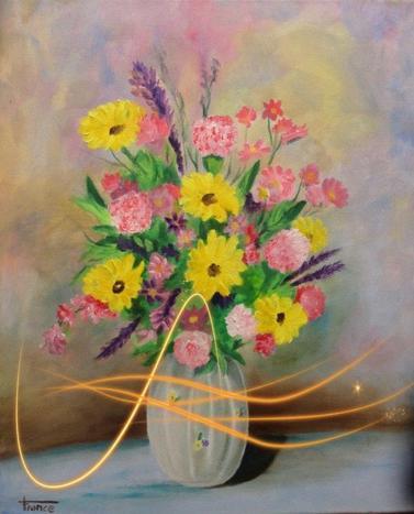 bouquet vase blanc