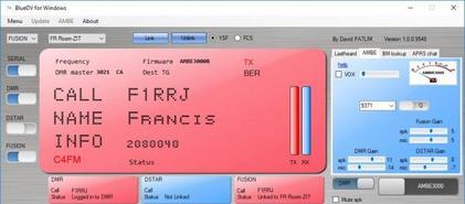 Clé USB DVstick 30 de DVMEGA : Activation C4FM en réception à partir version logiciel BlueDV 1.0.0.9548
