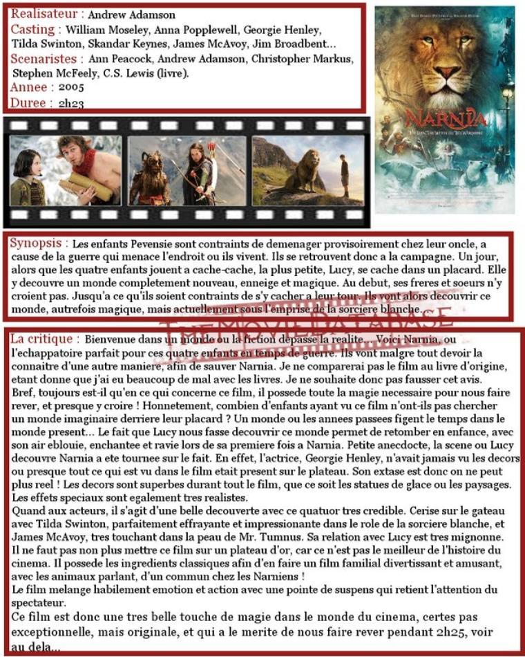 Film : Le Monde de Narnia, Chapitre 1 : Le Lion, La Sorciere Blanche et L'Armoire Magique