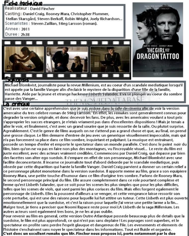 Film - Millenium : Les hommes qui n'aimaient pas les femmes