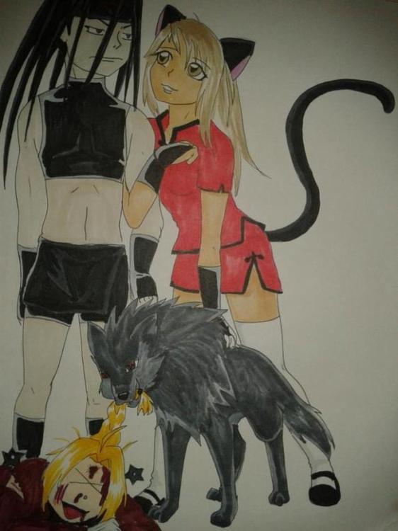 Envy, moi, Blacky et Edward martirisé xD....Envy x Louna