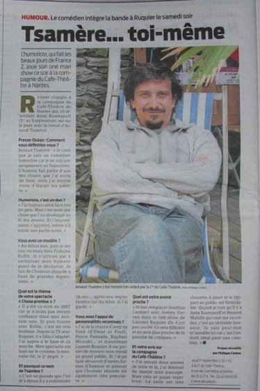 """Interview d'Arnaud Tsamere dans le journal """"Presse Océan"""""""