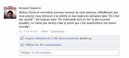 """Arnaud Tsamere n'est plus dans """"On n'est pas couché""""."""