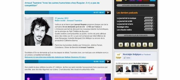 "Interview d'Arnaud Tsamere dans la radio: ""Nostalgie"""