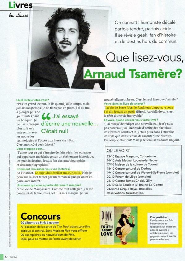 "Interview d'Arnaud Tsamere dans le magazine ""Flair"""