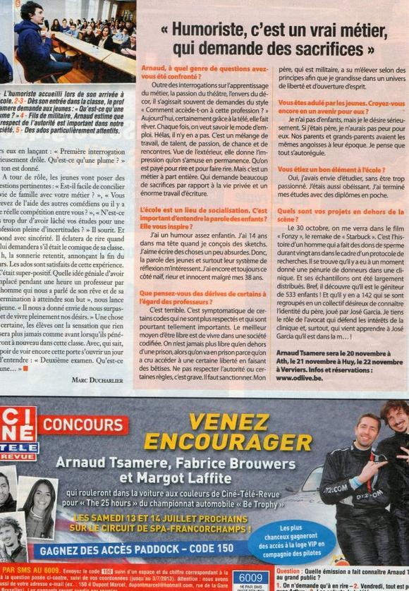 """Arnaud Tsamere envahit le magazine """"Ciné Télé Revue""""!"""