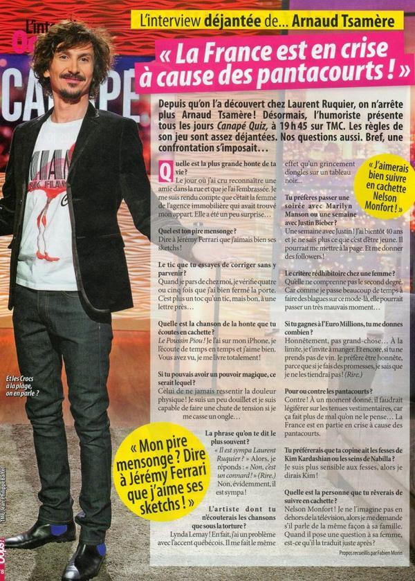 "Interview d'Arnaud Tsamere dans le magazine ""Oops"""