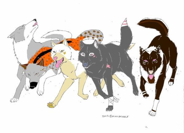 Running wolves (Nyméria, Mickaëla,Espero, Amy etWolfiWolf)