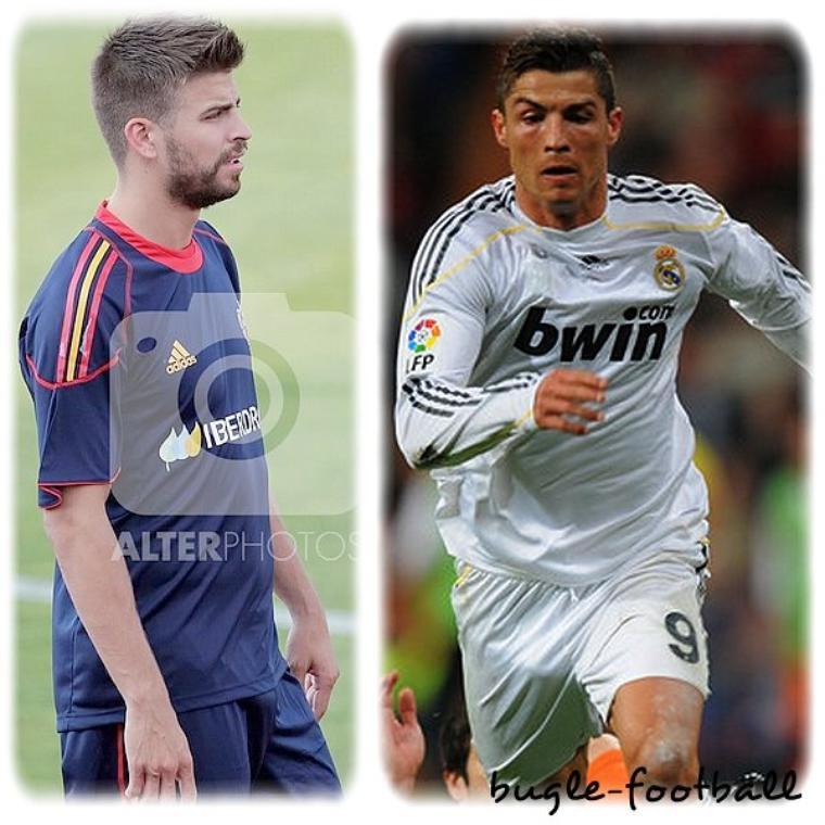 Gerard Piqué Y Cristiano Ronaldo bulging para 100 eme