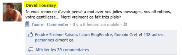 Remerciement De David Sur Facebook Foudre