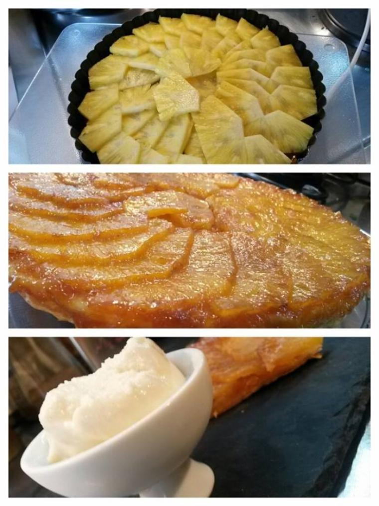 Tarte tatin à l'ananas et glace coco