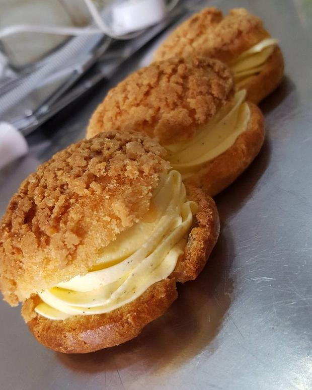 Choux vanille, caramel beurre salé