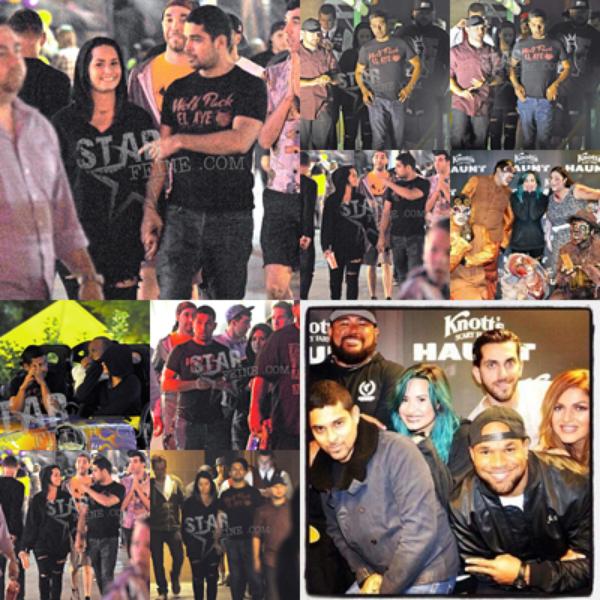 Le 20/10 - Demi s'est rendu au Knott's Berry Farm's Halloween Haunt à Buena Park en compagnie de son petit ami Wilmer Valderrama et de ses ami(e)s !!