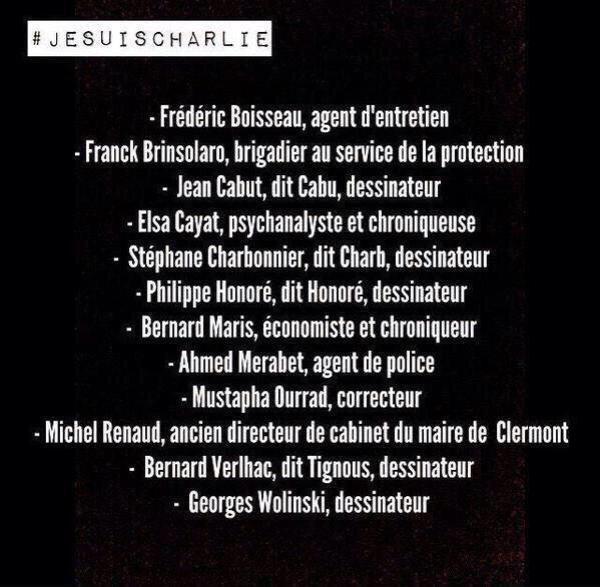 """EN HOMMAGE AU VICTIMES DE L'ATTENTAT HORRIBLE DE """"CHARLIE HEBDO"""" ....""""ELLENPORTIA"""" SE METS EN DEUIL ....CAR AUJOURD'HUI ON S'APPELLE TOUS """"CHARLIE"""""""