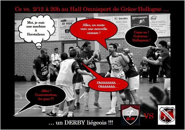 Demain soir, ve. 2/12, à 20h : notre premier derby liégeois : Usm Defra-cars G-H - Mfc la Préalle. En route vers une nouvelle victoire ??? Venez nombreux pour nous encourager !