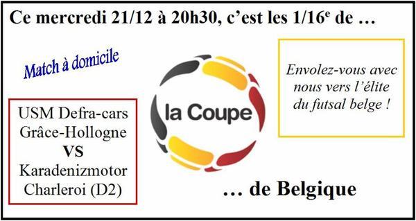 C'est déjà ce soir à 20h30 !!! 1/16e de finale de la Coupe de Belgique