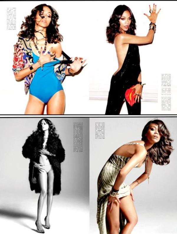 Zoe saldana covers flaunt magazine issue august 2011