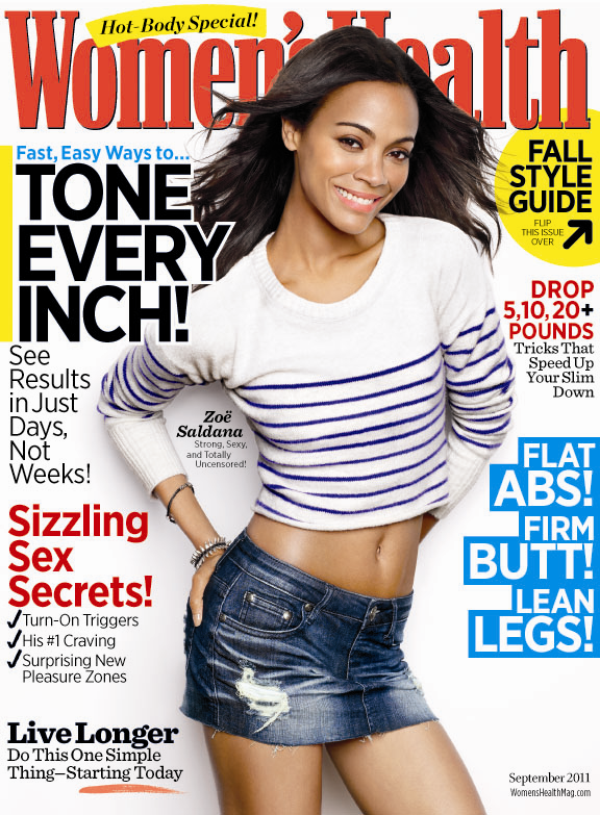 "Zoe saldana covers "" Women's health"" september 2011"