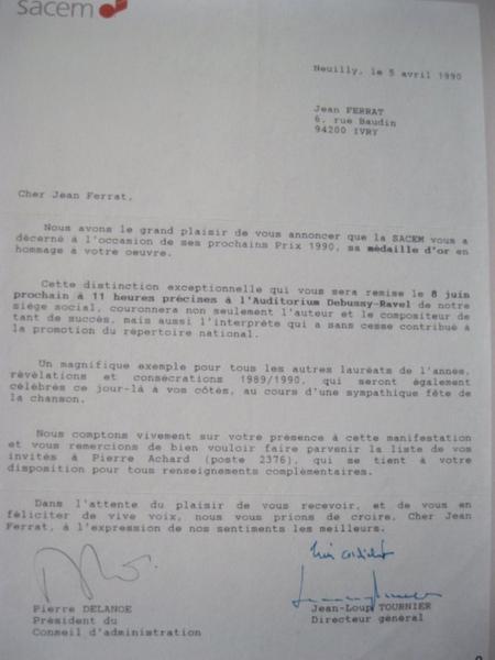 1990 - Remise de la médaille d'or de la SACEM