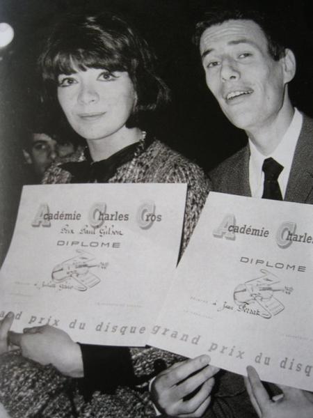 """Jean FERRAT et Juliette GRECO  """" Prix du disque Académie Française du Disque Charles CROS ( Mars 1964)"""